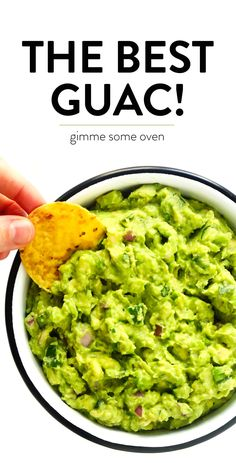 The BEST guacamole recipe!! It's quick and easy to make, and always the hit of a party. Serve it up with chips, tacos, nachos, burgers, or whatever sounds good. | gimmesomeoven.com #guacamole #mexican #dip #appetizer #avocado #glutenfree #vegan #healthy
