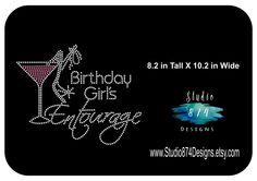 BIRTHDAY Girl Entourage Martini Rhinestone Bling Iron-on Transfer Applique  - GNO - Girls Night 9de38245aa64