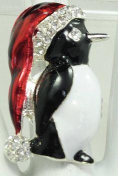 Penguin Santa Ring/Statement Ring/Rhinestone