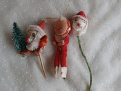 Santas and a Pixie Elf 3 Vintage Christmas Decorations - Spun Cotton and Chenille Stem, $3.99
