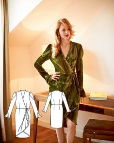 Long Sleeve Wrap Dress 10/2015 #112A http://www.burdastyle.com/pattern_store/patterns/wrap-dress-102015--2?utm_source=burdastyle.com&utm_medium=referral&utm_campaign=bs-tta-bl-150928-GreenSophistication112A