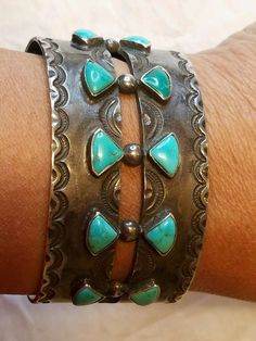 Fred Harvey Era, Dead Pawn, Silver & Turquoise Cuff Bracelet with stampwork - List of the best jewelry Navajo Jewelry, Southwest Jewelry, Boho Jewelry, Handmade Jewelry, Fashion Jewelry, Jewlery, Gold Jewellery, Craft Jewelry, Turquoise Cuff
