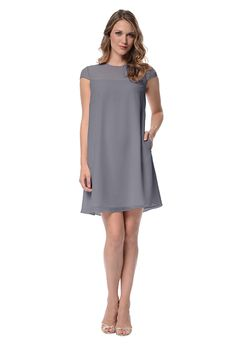"""Maid of Honor Dress?? Brides.com: . """"Emma"""" poly chiffon short-sleeve bridesmaid dress, $129, Dove & Dahlia available at Weddington Way"""