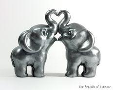 Silver Elephant Wedding Cake Toppers - Modern Indian Wedding Decor - Original Sculptures Handmade in Polymer Clay.