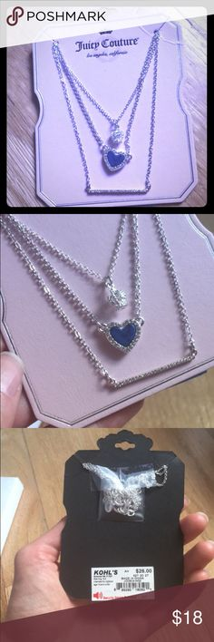 Layered Juicy Couture Necklace Heart Crown Bar Pretty layered necklace with rhinestones! Juicy Couture Jewelry Necklaces