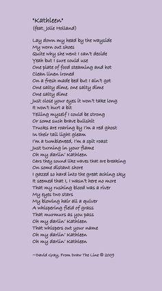 David Gray - KATHLEEN. One of my very favorite songs Just Lyrics, Song Lyrics, Good Music Quotes, David Gray, Joan Jett, Guitar Songs, Get One, True Love, Hans Christian