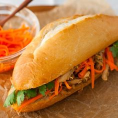 Vietnamese banh mi sandwich easily made using rotisserie chicken.