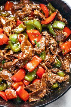 Beef Recipes For Dinner, Cooking Recipes, Thin Steak Recipes, Minute Steak Recipes, Skirt Steak Recipes, Pepper Steak Stir Fry, Paleo Pepper Steak Recipe, Steak Stirfry Recipes, Asian Recipes