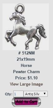 Horse and Western Themed Pewter Charms