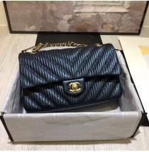 Chanel Chevron Stitched Classic Flap In Dark Blue Lambskin With Images Chanel Chevron Bag Chanel Chevron Chanel Handbags Collection