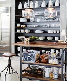 Küche Industriell Kücheninsel Barhocker Offene Regale | Leuchten | Pinterest