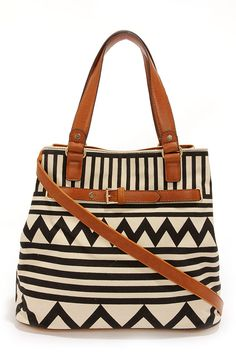 black and cream print handbag