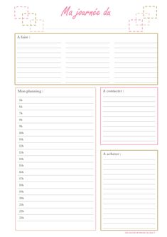organisation journée Plus Organization Bullet Journal, Journal Organization, Bujo, Diy Back To School, Life Planner, Filofax, Journal Inspiration, Planer, Free Printables