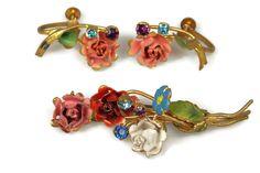 Austrian Crystal Enamel Flower Brooch Earrings Set 1940s by TheFashionDen on Etsy