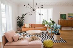 House Tour: A 1950s Apartment's First Renovation | Apartment Therapy New Living Room, Living Room Sofa, Living Room Decor, Living Spaces, Primitive Homes, Inflatable Furniture, Sofa Styling, Retro Home Decor, Furniture For Small Spaces