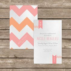 Chevron Bridal Shower Invitation, pink and peach, bridal shower invitation, personalized invitation, custom invitation $2.50