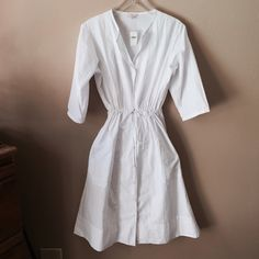 e9cbac5f8bb GAP Dress with Slip Dress NWT White 100% cotton dress with button front and  drawstring