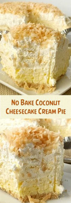 Coconut cream pie with a cheesecake twist. Easy and simple thanks to the coconut pudding mix and Nilla wafer crust. Its a no bake pie so its perfect to make the day ahead to save time! Coconut cheesecake cream pie is a must make for Thanksgiving dessert. Desserts Nutella, 13 Desserts, Delicious Desserts, Dessert Recipes, Coconut Desserts, Healthy Chocolate Desserts, Easy No Bake Desserts, Coconut Cheesecake, Cheesecake Recipes