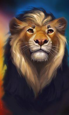Lion, predator, multicolor, artwork, 480x800 wallpaper