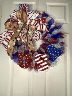 Patriotic Wreath, 4th Of July Wreath, Tie Knots, Festive, Wraps, Seasons, Usa, Blue, Ideas