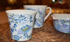 LOT VINTAGE BLUE FIGGJO FLINT POTTERY NORWAY LOTTE CUPS & SERVING TURI DESIGN.