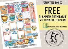 Free Printable It's Always Tea Time Planner Stickers from Victoria Thatcher
