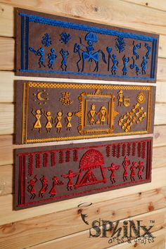Warli - the beautiful tribal art form Maharashtra. This is a set of wallframe series depicting the traditional Indian Wedding. A perfect gift for that \'couple in making\'!) To order, write us at hasthaa Clay Wall Art, Clay Art, Art Installation, Worli Painting, Quilled Creations, 3d Quilling, Madhubani Art, Indian Folk Art, Indian Paintings