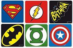 original DC Comics Marvel Superhelden Logo Kork Untersetzer Set mit Batman, Superman, The Flash, Green Lantern, Captain America Dc Comics, Superman, Batman, The Flash, Iron Man, Superhero Wall Art, Tumblr Stickers, Christmas Clipart, Decoupage