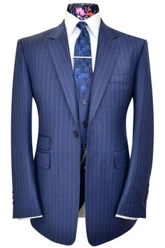 The Chambers Oxford Blue City Stripe Suit – William Hunt Savile Row