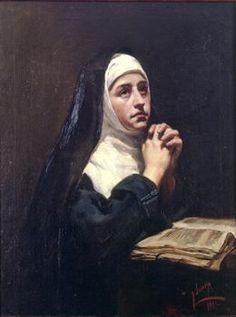 Joaquín Sorolla Bastida (1863-1923). Monja en oración. 1883. Óleo sobre tela. Colección Bancaja - Spain