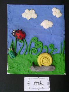 Example of Kindergarten art based on the work of Barbara Reid