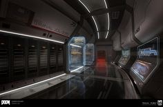 View an image titled 'Lazarus Hallway Art' in our Doom art gallery featuring official character designs, concept art, and promo pictures. Sci Fi Environment, Environment Design, Doom 2016, Id Software, Hallway Art, Spaceship Interior, Sci Fi News, Portfolio Review, Shadowrun