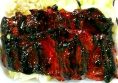 "Char Siu Chicken ~Haven't tried this particular recipe, but it (the recipe) looks about right! If you like ""Chicken on a stick"" you will should really enjoy this!!    Rebeka~"