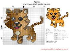 Small cross stitch pattern ideal for baby bibs baby tiger