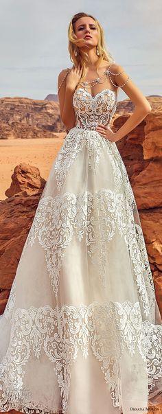 oksana mukha 2018 bridal strapless sweetheart neckline full embellishment romantic elegant a  line wedding dress chapel train (esfir) zv -- Oksana Mukha 2018 Wedding Dresses