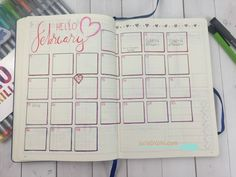 This monthly calendar layout for my bullet journal celebrates the month of February. Bujo