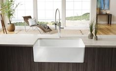 Blanco Fireclay apron front sink - can be installed on either side for more rounded or flat corners