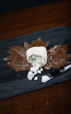 Celebrate Fall with Leaf-Wrapped Cheeses! River's Edge Up in Smoke is a young goat cheese wrapped in maple leaves, then soaked in bourbon and smoked.