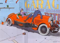 """Moebius - La Belle décapotable (The Beautiful Convertible) 2005 - For Pilote Magazine 2009 - """"69 - Erotic Year"""" At the background, on the wall, behind the convertible, you can read partially : """"Garage..."""