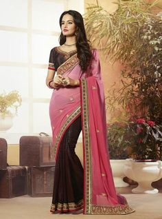 Brown With Pink Georgette & Brasso Embroidered Sarees Online ,Indian Dresses - 1