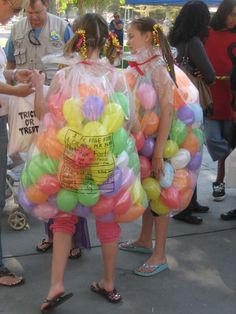 This would make a really cool Halloween costume  A bag of jellybeans :)  A clear plastic bag and mini balloons for halloween!