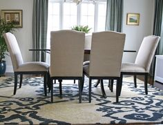 Modern Rug in Traditional Dining Room