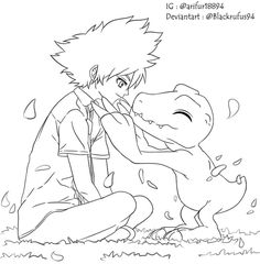 Taichi Yagami and Agumon Lineart (Digimon) by BlackRufus94