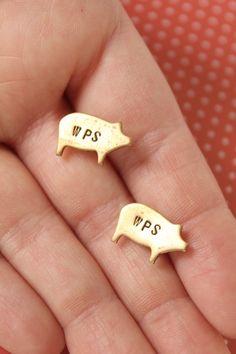 Brass Razorback stud earrings. WPS by ArkieStyle on Etsy