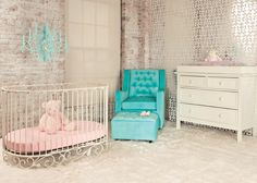 baby crib | designer nursery | luxury crib -- kind of obsessed with this whole look with the turquoise, cream, silver & light pink