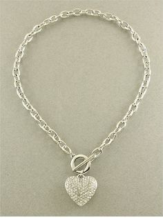 P.S. I Love You More | Silver Crystal Heart Toggle Necklace. Shop online at: psiloveyoumore.storenvy.com