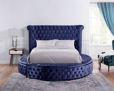 """CM7177BL-Q Red barrel studio linford delilah blue fabric upholstered art deco style design round queen bed with nail head trim accents. Queen bed measures 103 1/2"""" x 94"""" x 56"""" H. Some assembly required. Also available in Cal King, Eastern King at additional cost. Nailhead Trim, King Beds, Queen Beds, Bedroom Sets, Hidden Compartments, Big Sofas, Counter Height Dining Sets, Inexpensive Furniture, Upholstered Beds"""