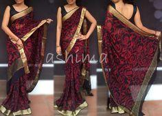 Code-1311152- Printed Banarasi Georgette Saree With Woven Golden Border & Pallu -Price INR:7560/-