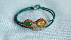 Macrame bracelet macrame stone green onyx by EarthCraftHandmade