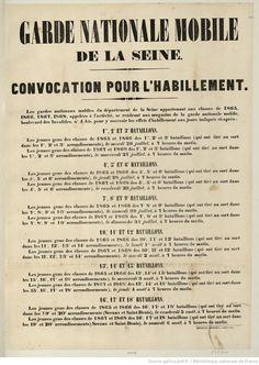Garde nationale mobile de la Seine. : convocation pour l'habillement.